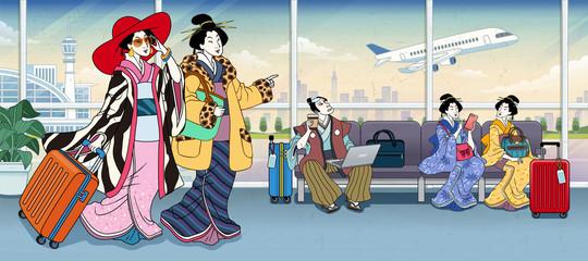 Ukiyo-e people in airport terminal