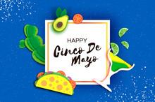 Happy Cinco De Mayo Banner. Fa...