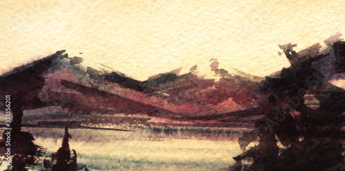 Romantic watercolor landscape. Dark mountains lit by soft light of setting sun and small lake surrounded by pines on background of tender yellow sky. Hand drawn summer illustration on textured paper