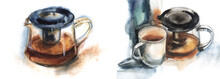 Watercolor Set Of Two Illustra...