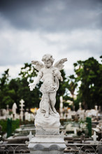 Statue Of An Angel In Park, Colon Cemetery, Havana, Cuba, Caribbean