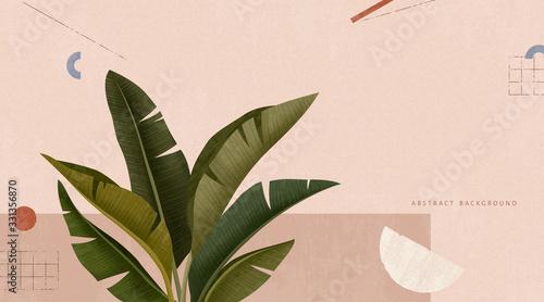 Obraz Leafs on pink geometric background - fototapety do salonu