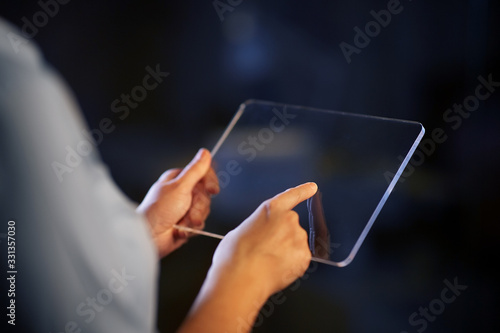 Obraz business, people and technology concept - close up of hands with transparent tablet pc computer - fototapety do salonu