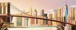 Brooklyn bridge city scene
