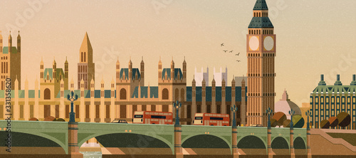 Slika na platnu Big ben and westminster bridge