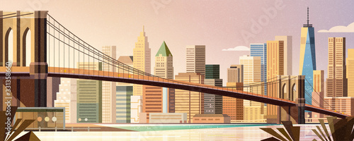 Brooklyn bridge city scene Canvas-taulu