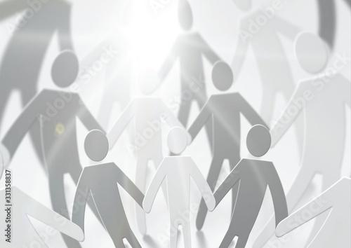 手を繋ぐ人々のシルエット Fototapet