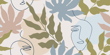 Muted, Beige And Brown Seamless Pattern With Abstract Tropical Leaves And One Line Faces.