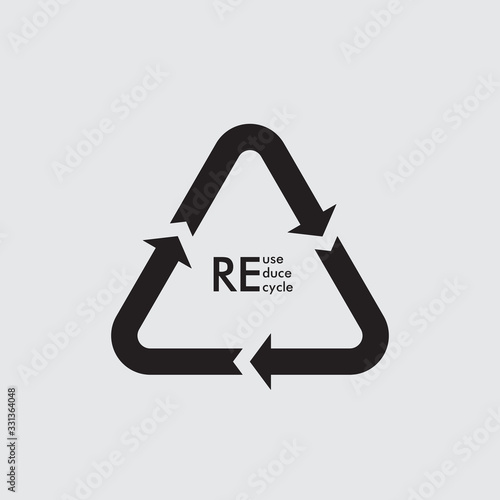 Fotografie, Obraz Vector garbage recycling logo. Reuse reduce recycle.