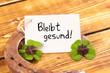 Leinwandbild Motiv horseshoe with green shamrock and german text bleibt gesund, in english stay healthy