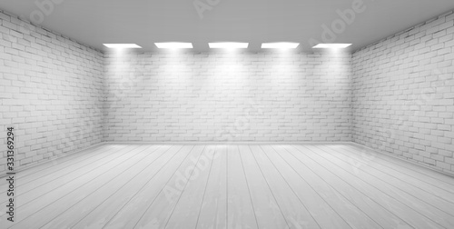 Obraz Empty room with white brick walls, wooden floor and ceiling lamps. Vector realistic 3d interior of studio, modern museum or gallery hall. Template showroom for exhibition in loft style - fototapety do salonu