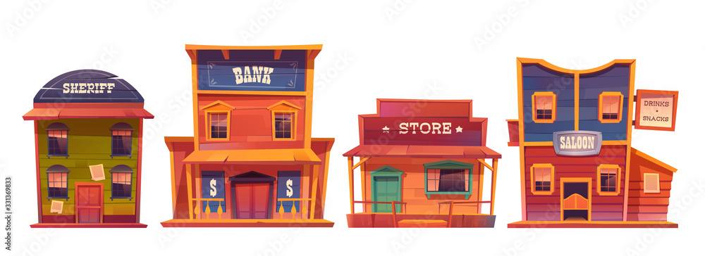 Fototapeta Wild west buildings set. Saloon, bank, sheriff and store wooden traditional western architecture isolated on white background. House exterior, cowboy style design, Cartoon vector clip art
