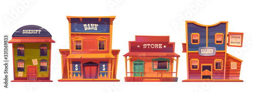 Obraz Wild west buildings set. Saloon, bank, sheriff and store wooden traditional western architecture isolated on white background. House exterior, cowboy style design, Cartoon vector clip art - fototapety do salonu