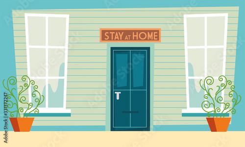 Obraz stay at home awareness social media campaign and coronavirus prevention - fototapety do salonu