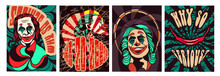 Set Of Psychedelic Scary Clown...