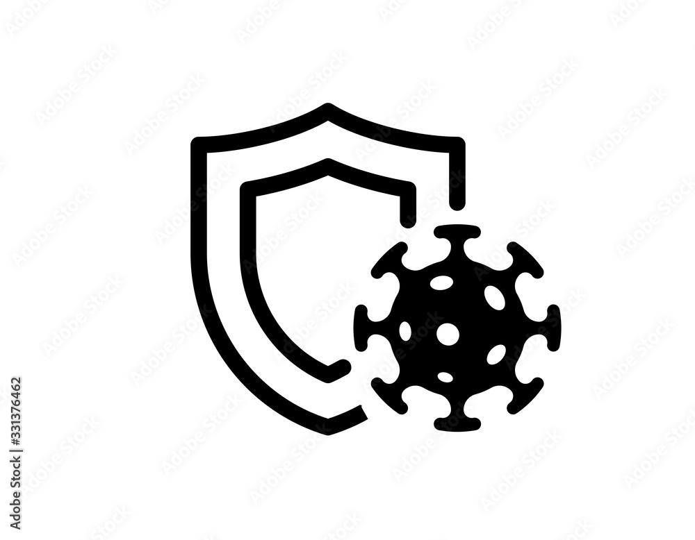 Fototapeta Immune system concept. Hygienic medical black shield protecting from coronavirus COVID-19 icon. Human immunity sign. Corona virus defense symbol vector isolated illustration