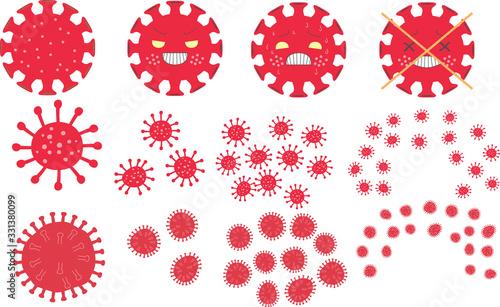 Red coronavirus disease (COVID-19) set Canvas Print