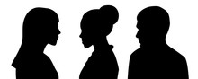 Head Silhouettes Of Three Peop...