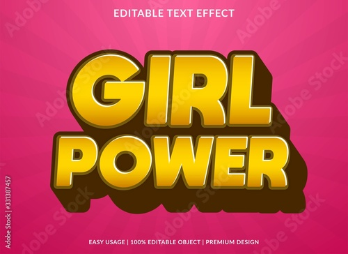 girl power text effect template with 3d style and bold font concept use for brand label and logotype sticker
