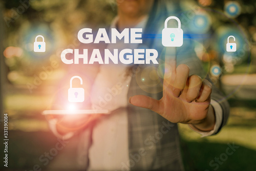 Photo Text sign showing Game Changer
