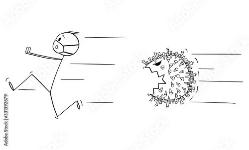 Vector cartoon stick figure drawing conceptual illustration of man wearing protective face mask running away in fear or panic chased by covid-19 Fotobehang