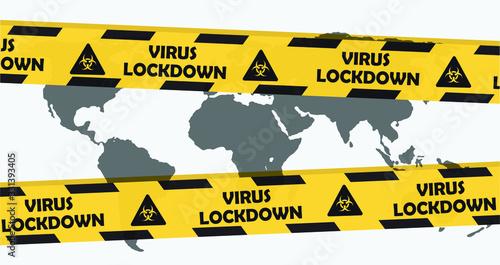 Obraz Virus lockdown barrier tape over world map. Coronavirus pandemic. Covid19 - fototapety do salonu
