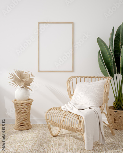 Photo Mockup frame in coastal boho style interior, 3d render