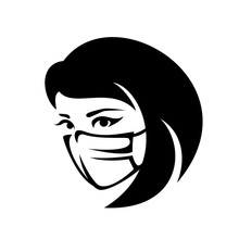 Woman Wearing Protecting Medical Mask To Avoid Virus Infection - Black And White Head Portrait Vector Outline