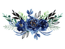 Watercolor Elegant Vintage Navy Indigo Blue Flower Bouquet And Leaves Foliage Hand Painted
