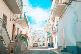 Fototapeta Uliczki - The narrow streets of the island with blue balconies, stairs and flowers.