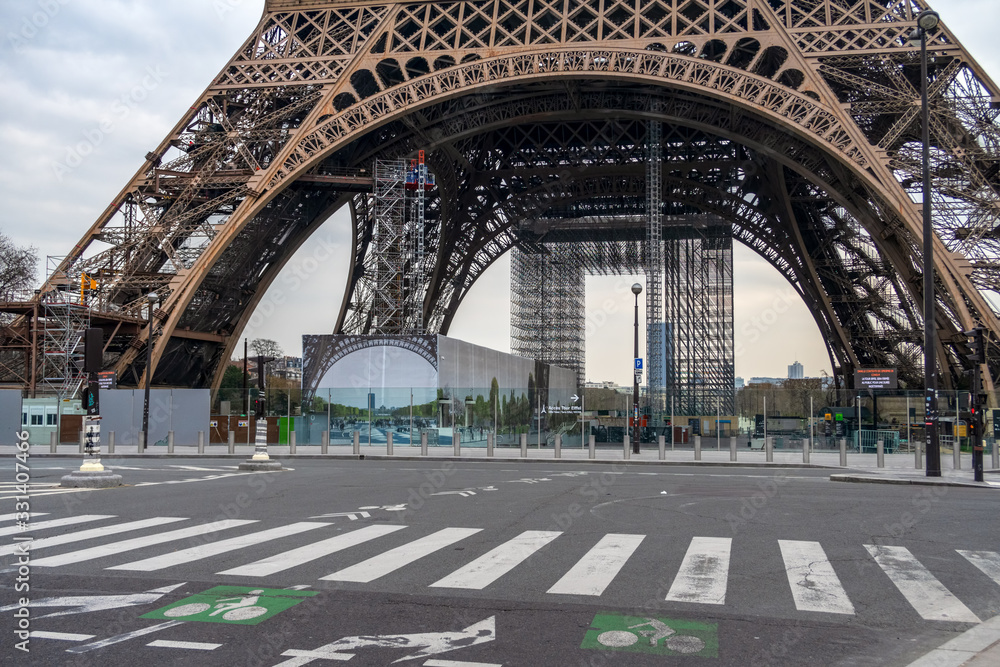 Coronavirus Lockdown in Paris. Nobody in front of the Eiffel tower.