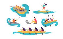 People Sport Team In Boat On Water Women, Man Boating With Paddle In Canoe Tourism Vector Illustration Isolated On White. Lifestyle Activity Sportsman Canoeing On River In Protective Vests, Sit, Stand