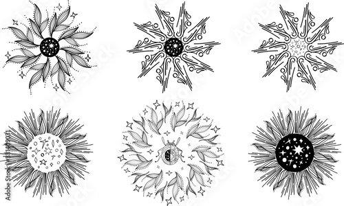 Vector set of Sacred celestial and natural mandala on white background Wallpaper Mural