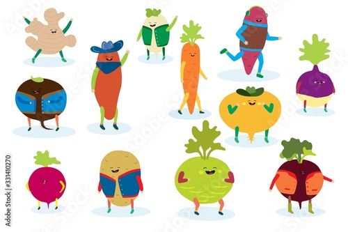 Smile food vegetable, healthy nature organic diet harvest in clothes with face on comic vegetal vector illustration isolated on white. Natural potato, vitamin carrot, ripe ginger, beet with emoji