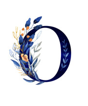 Watercolor Floral Monogram 0 - Number - Classic Blue Decorated With Flowers