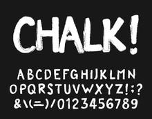 Chalk Alphabet Font. Hand Draw...