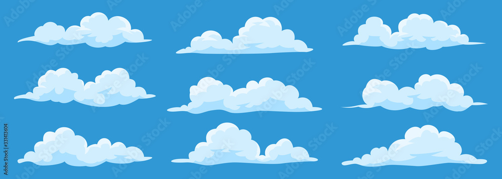 Fototapeta Set of cartoon clouds