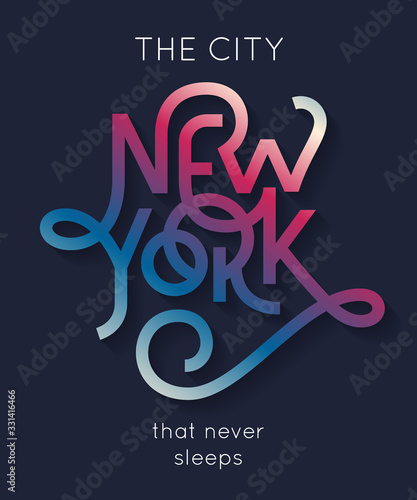"""New York the city that never sleeps"" poster Fototapet"