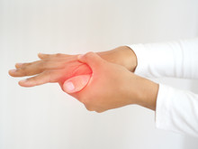 Carpal Tunnel Syndrome And Gout,including Lupus And Lyme Disease In Woman And She Touching On Her Hand And Finger And Symptoms Of Pain And Swelling In The Hand Use For Health Care Concept.