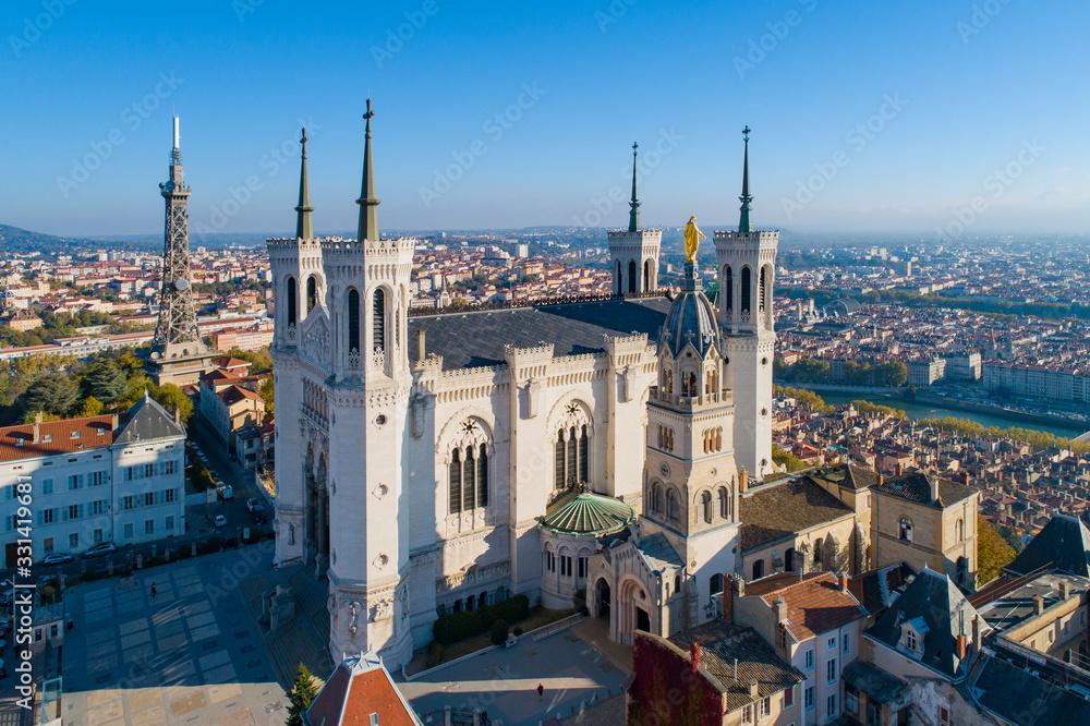 Fototapeta Lyon, Aerial view of Notre Dame de Fourviere Basilica