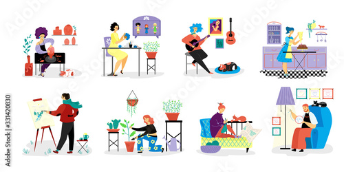 Fototapeta People do creative artistic hobbies on vector hand drawn hobby illustration isolated on white. Person do favorit hobbies, draw, play guitar, embroider, knit, grow plants, do pottery, sew toys, cooking obraz