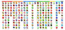 世界の国旗 - ボタン   National Flag - Button ◆ アジア39ヶ国・ヨーロッパ41ヶ国・北アメリカ23ヶ国・南アメリカ12ヶ国・アフリカ54ヶ国・NIS12ヶ国・オセアニア16ヶ国・その他11 合計208種類
