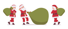 Santa Claus, Father Christmas Carrying Heavy Gift Bag. Portly, Jolly, White Bearded Cute Man Wearing A Red Coat Carrying Sack Full Of Presents For Good Children. Vector Flat Style Cartoon Illustration