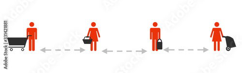 Fotografía Beim Einkaufen an der Kasse bitte Abstand halten