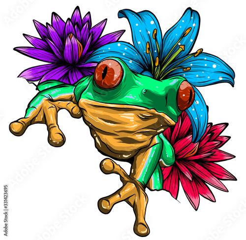 Cute frog cartoon Poster Mural XXL