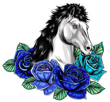 Horse Head With Flowers Vector...