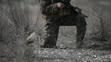 US Army Soldier Holding Automa...