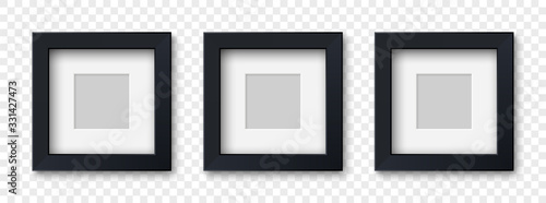 Fototapeta Mockup three realistic square picture or photo frame black color isolated on transparent background for your design. Vector illustration EPS10 obraz