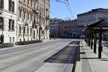 Empty Streets In Krakow, Quarantine Related To The Coronavirus Epidemic