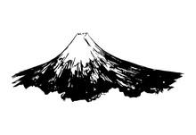 Fuji Mount Ink Paint Hand Drawn Art Design, Japanese Mountain In Vector Paintbrush Calligraphy Style. Mount Fuji With Snow Peak, Japan And Tokyo Landmark Symbol Ink Sketch Graphic With Brush Texture